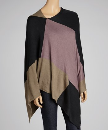 Black Color Block Poncho