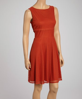 Red Rust Polka Dot Overlay Sleeveless A-Line Dress