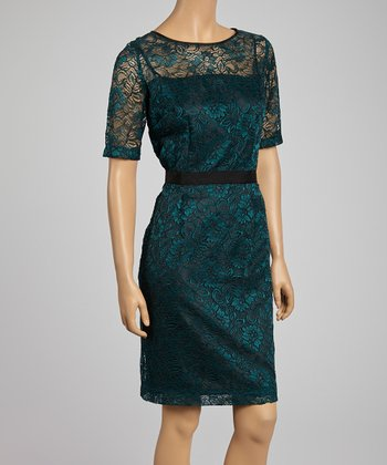 Emerald & Black Lace A-Line Dress - Women
