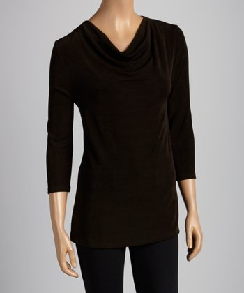 Dark Brown Drape Top