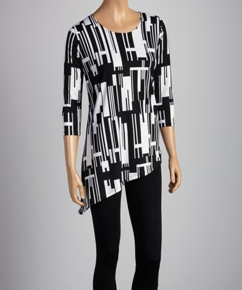 Black & White Geometric Asymmetrical Top