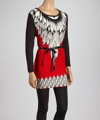 Red & White Feather Scoop Neck Tunic