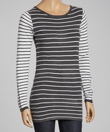 Gray & White Stripe Crewneck Sweater
