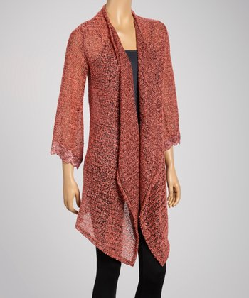 Coral Semi-Sheer Open Cardigan