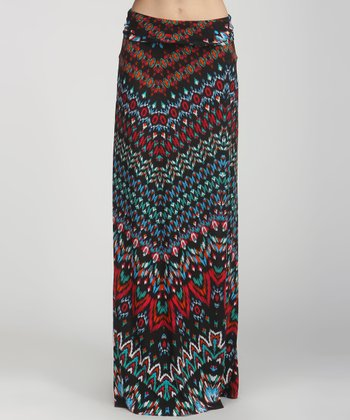 Black & Teal Ikat Zigzag Maxi Skirt