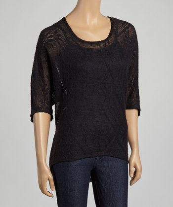 Black Sheer Lace Back Cape-Sleeve Top