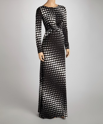 Black & White Polka Dot Twist Maxi Dress - Women