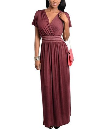 Plum Surplice Maxi Dress - Women