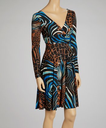 Blue & Brown Animal Surplice Dress