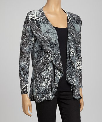 Gray Abstract Animal Open Cardigan