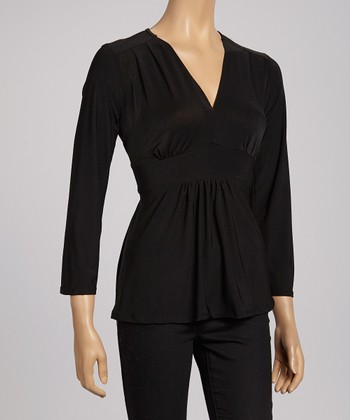 Black Tie-Back V-Neck Top