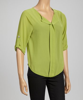Green Semi-Sheer Roll-Tab Sleeve Top