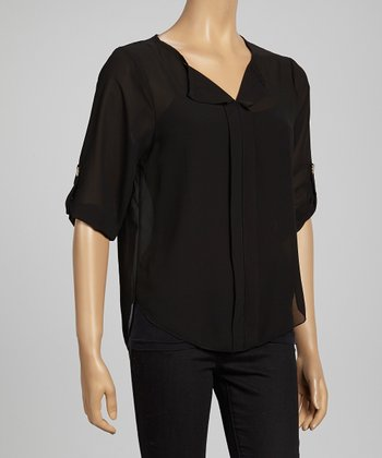 Black Semi-Sheer Roll-Tab Sleeve Top