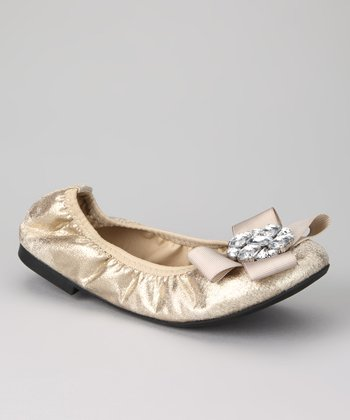 Gold Twisty Ballet Flat