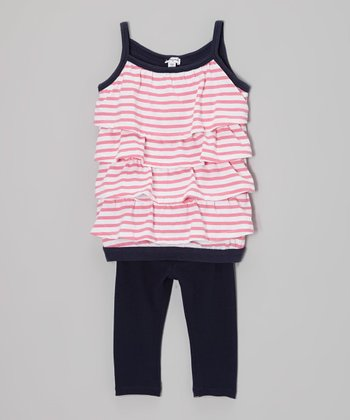 Parfait Stripe Tiered Tunic & Black Leggings - Toddler