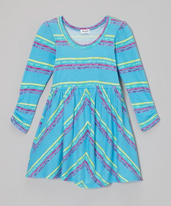 Blue Moon & Yellow Stripe Dress - Toddler