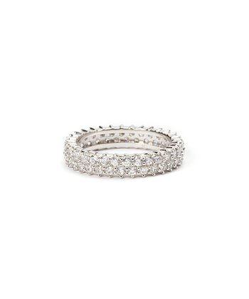 Sparkle & Sterling Silver Two-Layer Dot Ring