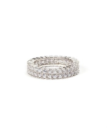 Sparkle & Sterling Silver Two-Layer Ring