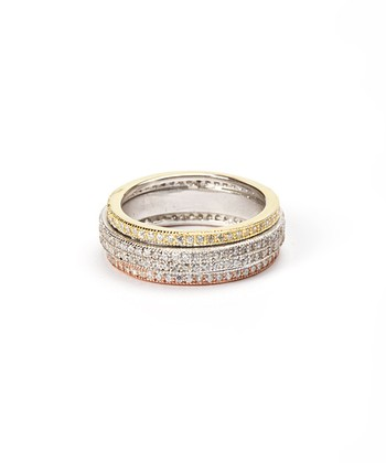 Gold & Sterling Silver Triple Row Ring