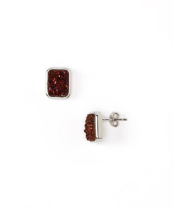 Burgundy Druzy & Sterling Silver Rectangle Stud Earrings