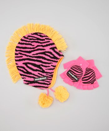 Orange & Pink Zebra Mohawk Beanie & Fingerless Gloves