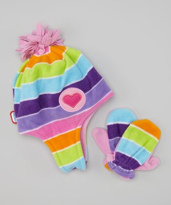 Purple & Pink Heart Beanie & Mittens