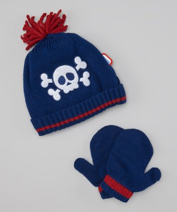 Blue & Red Skull Beanie & Mittens