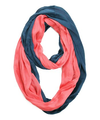 Indigo & Peach Two-Tone Silk-Blend Infinity Scarf