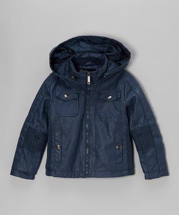 Urban Republic Blue Faux Nappa Leather Jacket - Boys