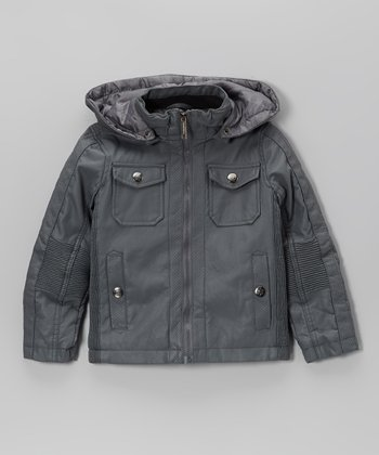 Urban Republic Charcoal Faux Nappa Leather Jacket - Toddler & Boys
