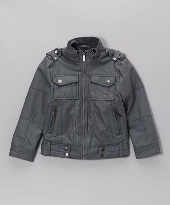 Urban Republic Charcoal Faux Nappa Leather Aviator Jacket - Boys