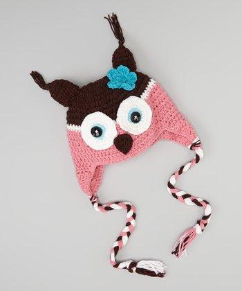 Brown & Pink Owl Earflap Beanie