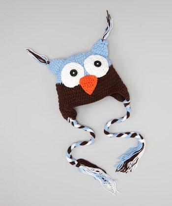 Light Blue & Brown Owl Earflap Beanie