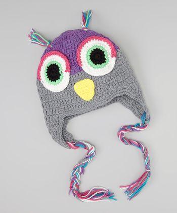 Gray & Purple Owl Earflap Beanie