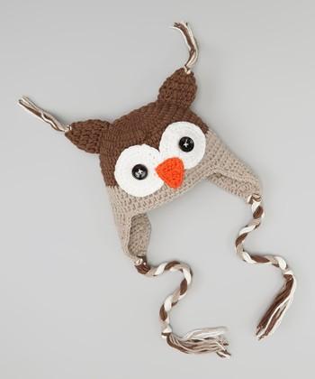 Brown & Tan Owl Earflap Beanie