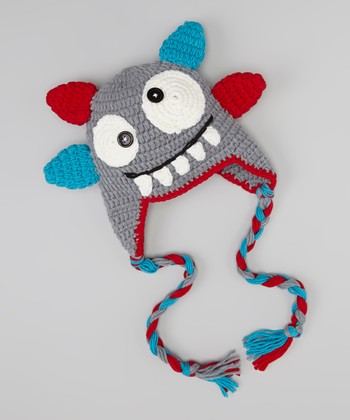 Gray & Red Monster Earflap Beanie