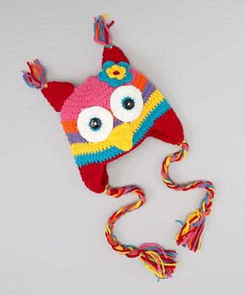 Rainbow Owl Earflap Beanie