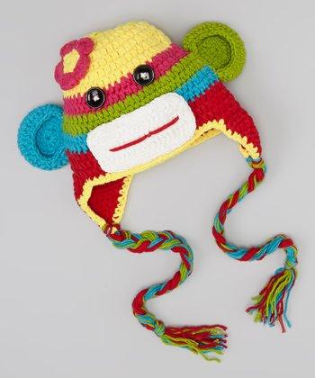 Red & Green Monkey Earflap Beanie