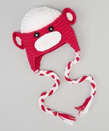 Hot Pink Monkey Earflap Beanie