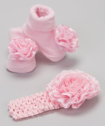 Pink Rosette Socks & Headband