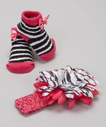 Fuchsia & Black Bow Stripe Socks & Headband