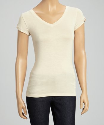Beige Pull-Tab V-Neck Top