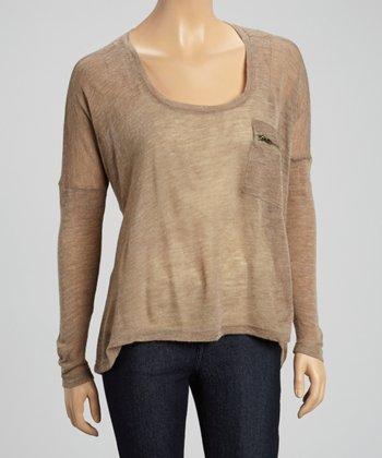 Brown Zipper Pocket Scoop Neck Top