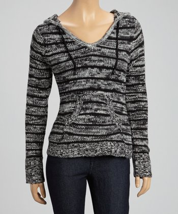 Black & Gray Stripe Hooded Pullover