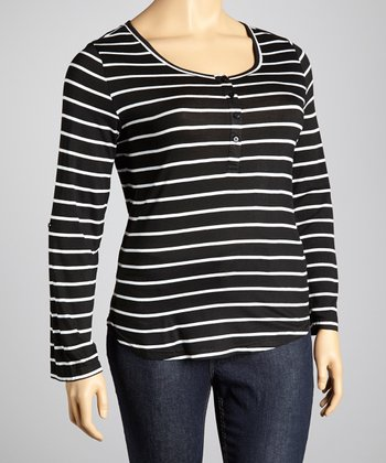 Black & White Stripe Henley - Plus