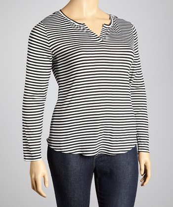 White & Black Stripe Split V-Neck Top - Plus