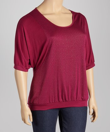 Violet Pin Dot Cape-Sleeve Top - Plus
