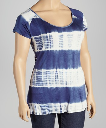 Blue & White Tie-Dye Scoop Neck Top - Plus