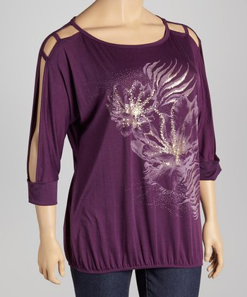 Purple Floral Cutout Top - Plus