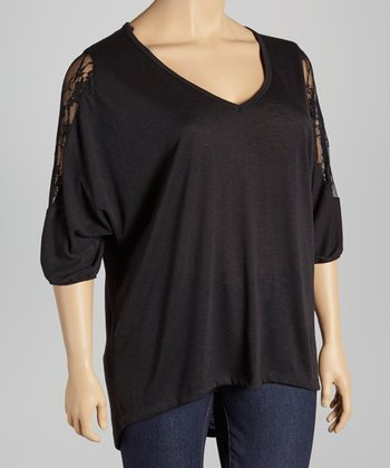Black Lace-Accent Dolman Tunic - Plus